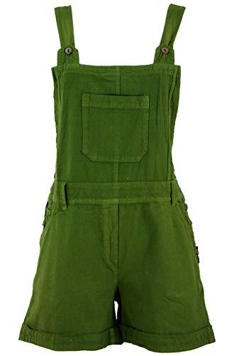 Guru-Shop Goa Shorts, Kurze Latzhose, Boho Latzhose, Damen, Olivgrün, Baumwolle, Size:S (36), Shorts, 3/4 Hosen, Leggings Alternative Bekleidung