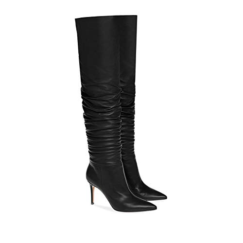 EDTEPF Womens Over Knee High Heel Pointed Ruched Boots Fashion Dress Party Walking Shoes,Black,37