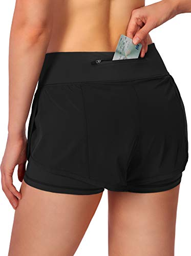 Women's 2 in 1 Running Shorts Workout Athletic Gym Yoga Shorts for Women with Phone Pockets Black