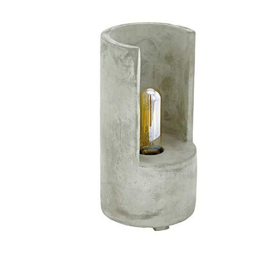 EGLO Tischlampe Lynton, 1 flammige Tischleuchte Vintage, Industrial, Retro, Nachttischlampe aus Beton in Grau, Lampe mit Schalter, E27 Fassung, H 27 cm
