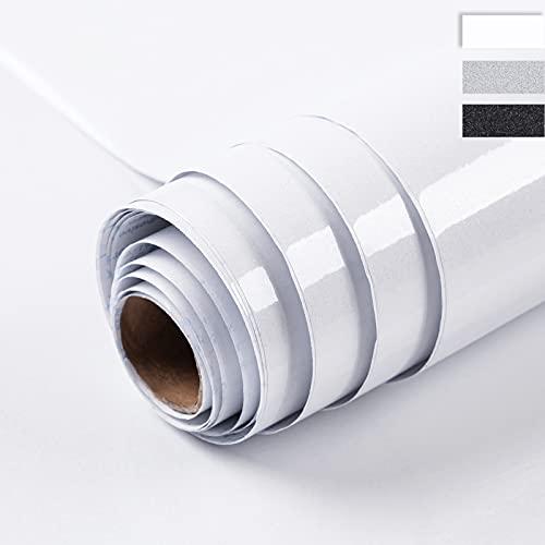 Niviy Klebefolie Möbel 59.5 X 300 CM Weiß Möbelfolie Oberfläche Schimmert Glitzert Dezent Selbstklebende Folie Dekorfolie Küche Oberflächenschutz Wasserdicht ölbeständig PVC Hochglanz Folie
