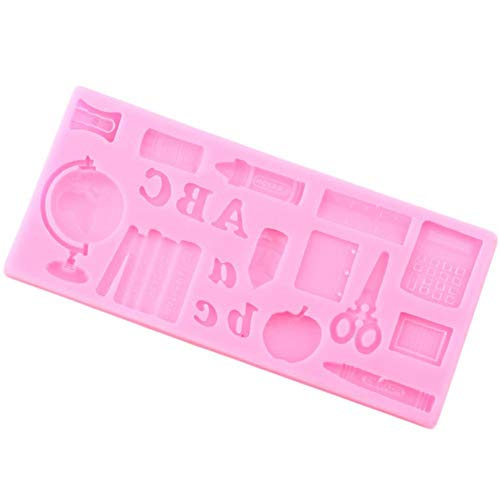 ZHQIC Globo 3D Libro de Estudio Tijeras Moldes de Silicona Molde de Chocolate Fondant Herramientas de decoración de Pasteles Moldes de Caramelo de Arcilla polimérica