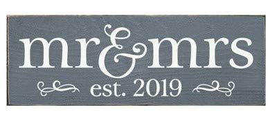 """Sawdust City Rustic Wooden Sign - """"Mr. & Mrs."""" Made from Solid Knotty Pine & Distressed Wood - White Stenciled Wall Art Room Decor - On Slate Grey Background"""