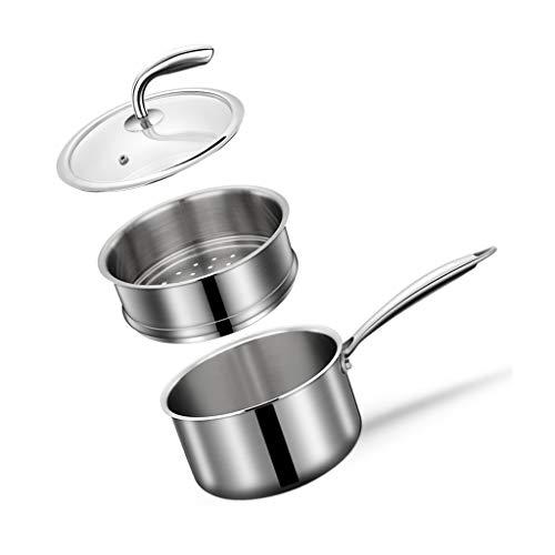 JXLBB Acier inoxydable pot à lait ménage nouilles instantanées cuisson antiadhésive cuisson multi-usages pot petit pot à soupe bébé chauffage complément alimentaire véritable 304 en acier inoxydable