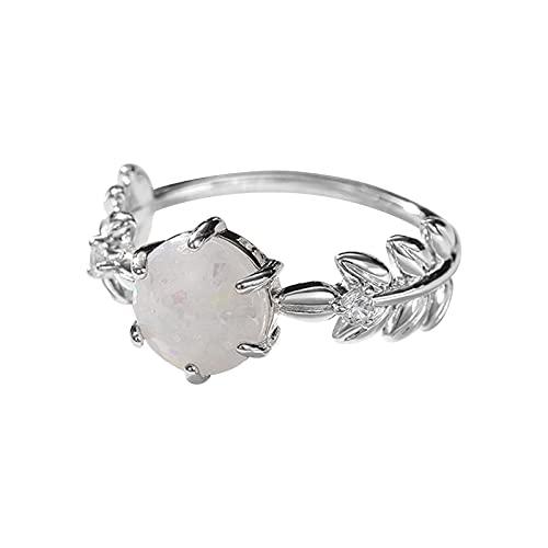 Aoklidil Clásico y elegante anillo solitario de compromiso de la marca con el punto más fuerte de ancho de aprox., Blanco, 7