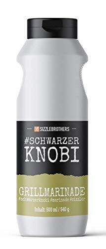 Sizzle Brothers Grill Marinade #Schwarzerknobi 500ml - Flüssige Grillmarinade I Saftigeres & Zarteres Fleisch im Vergleich zum BBQ Rub I Für Grillfleisch wie Steak, Hähnchen, Pulled Pork & Co.