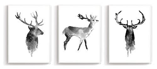 Wandposter Poster Wandbild Schwarz Weiß Kunstdruck - für Wohnzimmer Schlafzimmer Arbeitszimmer - Wanddeko A4 3er-Set Hirsch (ohne Rahmen)