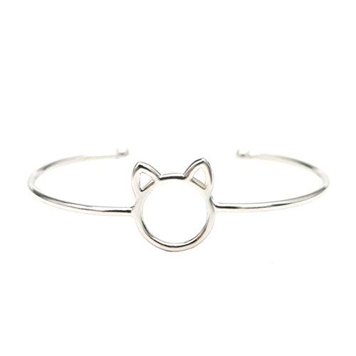 Sonew Öffnen Sie Manschette Armbänder für Frauen Süße Katze Armreif Einfache Mode Zarte Schmuck Beste Geschenke für Mädchen(Silver)
