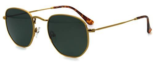 RICH MODE Gafas de sol cuadradas pequeñas polarizadas para hombres y mujeres Polygon Mirror Lens - marco dorado con espejo plateado/verde (almohadillas de cristal para la nariz)