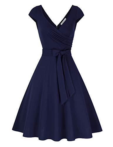 KOJOOIN Damen Vintage 50er V-Ausschnitt Abendkleid Rockabilly Retro Kleider Hepburn Stil Cocktailkleid Dundelblau S