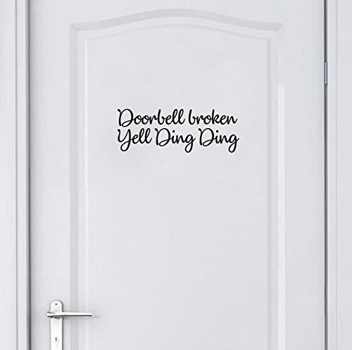 Doorbell Sticker de porte en vinyle Inscription en anglais « Hello Ding »