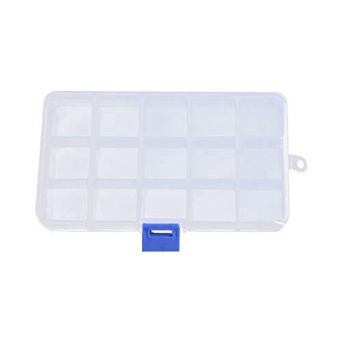 Runxingfu Herramientas Manuales 6 10 15 Rejillas Transparente Plástico Joyas Caja Organizador Ajustable Almacenamiento Transparente Contenedor con Desmontable Divisores