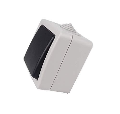 Sanfor 00375 Conmutador Estanco de Superficie, Interruptor Simple Pared, 10 amperios 250 voltios, Gris