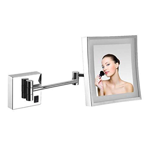 HGXC Espejo de Maquillaje con Carga USB LED, Espejo de Afeitar para baño montado en la Pared, Aumento 3X Iluminado