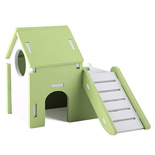 Jadeshay Hamster House - Exquisita Hamster House Viewing Deck House de Doble Capa con tobogán Infantil(Verde)