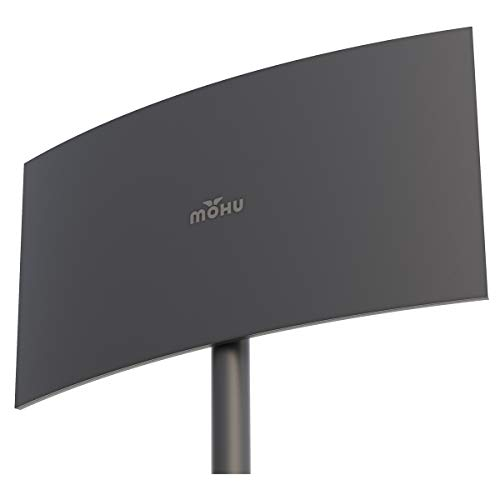 Mohu MH-110039 Crescent Outdoor Amplified HDTV Antenna - Upto 75 Mile - Outdoor, HDTV Antenna, Indoor - Gray - Wall Mount - Multi-Directional - F Connector Connector