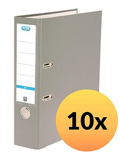 ELBA smart Pro Ordner A4, 8 cm breit, mit Einsteck-Rückenschild, grau, 10er Pack