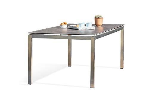 DCB GARDEN Torino Table de Jardin, Acier Inoxydable, Gris, 200x100