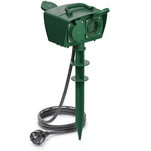 deleyCON 4 Fach Outdoor Steckdose mit Erdspieß Stromverteiler Außenbereich 4X Schutzkontakt Buchse Kindersicherung IP44 Spritzwassergeschützt Witterungsbeständig Garten Terrasse Beet 1,4m Kabel