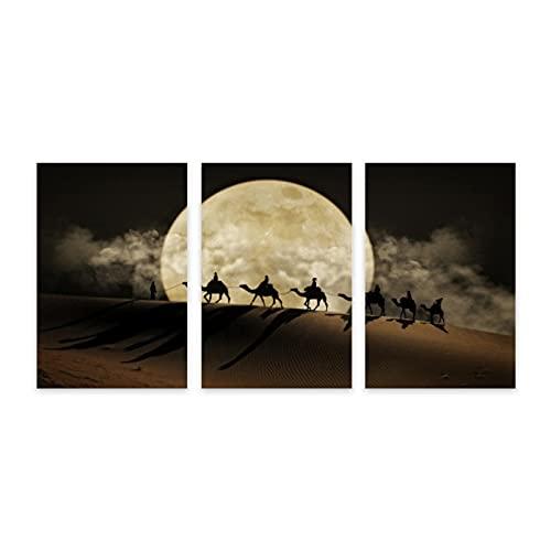 CVSANALA 3 Piezas Sin Marco Fotografía Mural,Desierto de la Luna de la Ruta de la Seda,Póster Huellas Dactilares Decor Mural Lienzo Pintura al óleo,11.8' x 17.7'