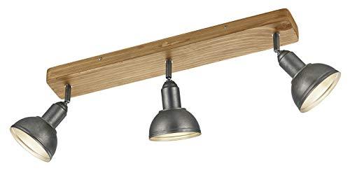 Trio Leuchten Deckenleuchte Delhi 803400367, Metall Nickel matt antik, Base Holz, exkl. 3x E14