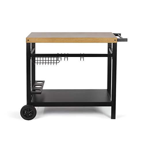 Servierwagen Garten Outdoor mit Rollen Beistelltisch Grillen Höhe 81 cm (Grillwagen, Grillzubehör, Grill Beistellwagen)