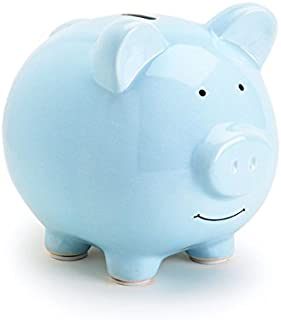 Tiny Ideas Ceramic Piggy Bank, Makes a Perfect Unique Gift, Nursery Décor, Keepsake, or Savings Piggy Bank for Kids, Blue