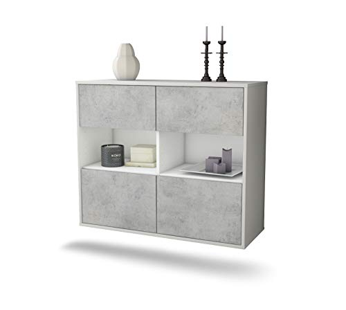 Dekati dressoir Richmond hangend (92x77x35cm) rompje wit mat | front beton look | Push-to-Open