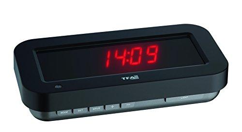 """TFA """"HOLOclock"""" Funkuhr mit 3D-Effekt 60.5009.05, patentierte Optik lässt die Anzeige praktisch in der Luft schweben, mit Anzeige von Uhrzeit, Datum oder Temperatur, LED, rot"""