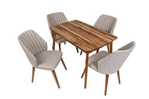 Furni24 4er Esstisch Set, Rechteckig Esstisch Küchentisch 4 Stühle Esszimmertisch Tisch mit Holzbein, Walnussfarbe 120x77x77 cm