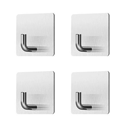 ZSTKEKE Ganchos autoadhesivos 4 unidades, sin taladrar, toallero autoadhesivo, gancho de pared, gancho de albornoz, gancho adhesivo para cocina y baño