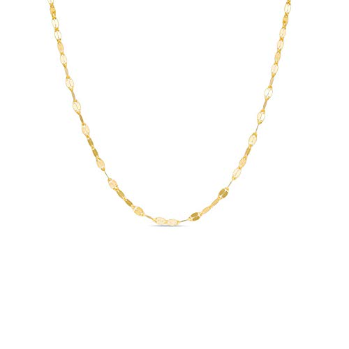 10K Solid Gold 2.0MM Diamond Cut Mirror Chain Anklet - 14