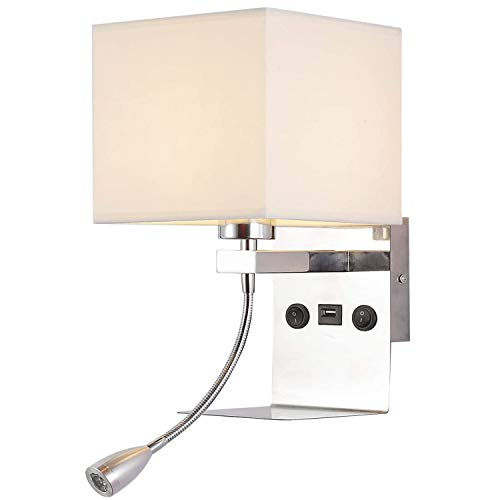 Bedside Wall Lamps for Bedroom - Hardwired Wall Light with USB Port and Tray, Modern Wall Reading...