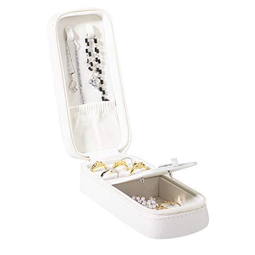 molshine Petite boîte de rangement pour bijoux - Pour femme et fille - Pour voyage, bagues, colliers, boucles d'oreilles, rouge à lèvres, bracelets - Blanc