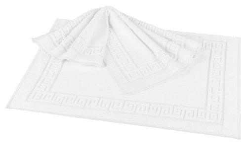 fleuresse Frottier Badematte, Fb. Weiß, Größe 50 x 80 cm mit griechischer Ringsum-Bordüre, hochwertig und strapazierfährig, 2-er Pack