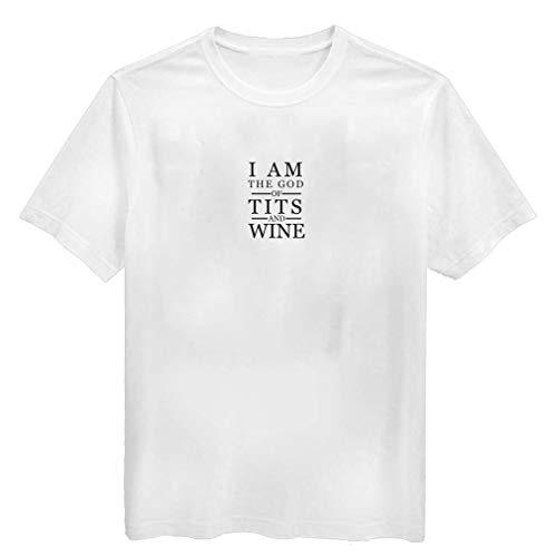 Camiseta de Verano para Hombre Tops God of Tts y Vino Divertido Juego de Tronos Fan tee Día de San Valentín Regalo para él Personalizado para Hombre Blusa