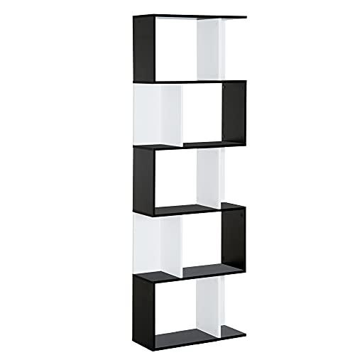 homcom Libreria Moderna 5 Ripiani Pratici Finitura Eccellente, Superficie Liscia e a Prova di umidità in Legno Truciolato Nero 60×24×184.5cm