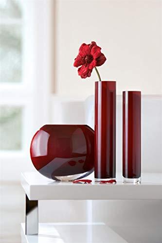 GILDE glas diepte vaas antraciet grijs gekleurd L = 35,5 x B = 35,5 x H = 31 cm
