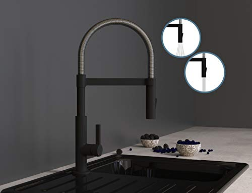 SCHÜTTE 79146 MIAMI Küchenarmatur 360°, Einhebelmischer mit ausziehbarer, magnetischer Geschirrbrause, Spültischarmatur Mischbatterie für die Spüle, Wasserhahn Küche Schwarz
