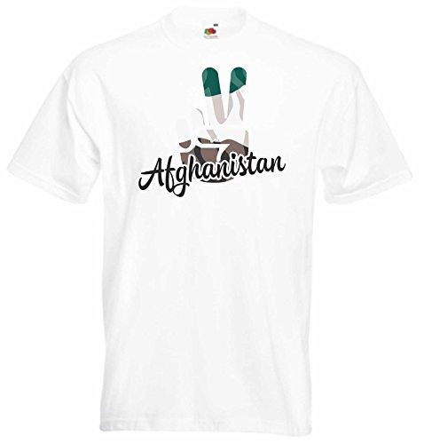 Black Dragon - T-Shirt Herren - JDM/Die Cut - weiß - Flagge/Fahne - Afghanistan - Victory - Sieg - S - Fussball Sport Boxen Fight