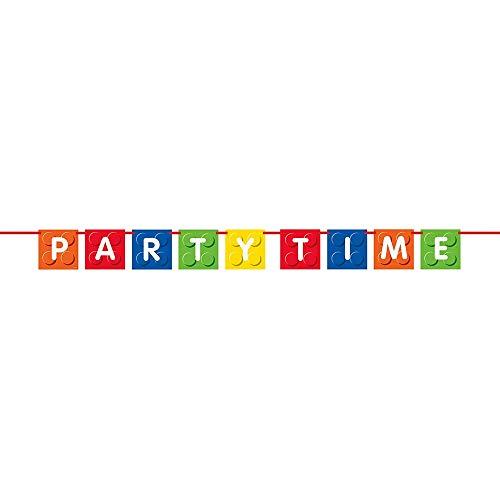 Unique Party- Guirnalda de Letras: Fiesta de Cumpleaños de Bloques de Construcción, Multicolor, 1,83 m (58238)