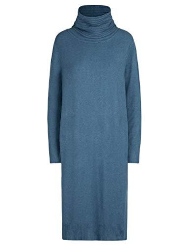 APART Damen Strickkleid, Kleider mit Rollkragen, Strick, Lange Kleider, gerade Form, Kaschmir-Anteil, blau, 40