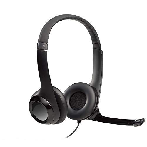 Headset com fio USB Logitech H390 com Almofadas em Couro, Controles de Áudio Integrado e Microfone com Redução de Ruído