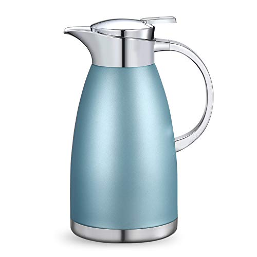 Haosens 1800ml Caraffa Termica in Acciaio Inox, Teiera da caffè Thermos, Doppia Parete Isolata sotto Vuoto - per Acqua Calda e Fredda e tè