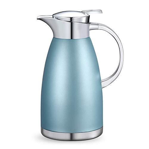 Haosens 1,8 Liter Edelstahl Isolierkanne kaffeekanne Haushalt thermosflasche Europäischen Stil thermosflasche - Heiß und kalt dual Gebrauch (Khaki Blau)