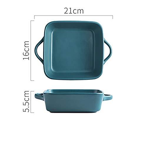 Yangxuelian Fuente Horno Ceramica Gran Plato de cerámica de Horno, Plaza Horno Plato for el hogar cocinas, diseño del Color sólido (21x16x5.5cm) para lasañas, Pasteles, Tapas y más
