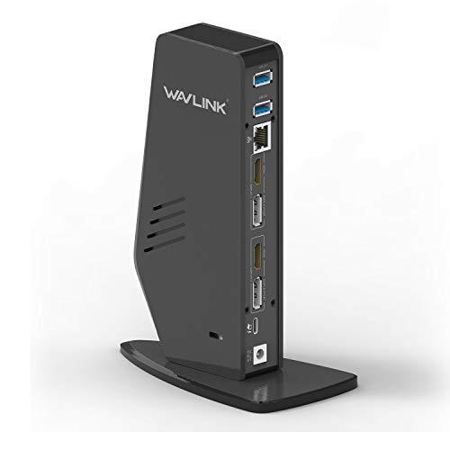 WAVLINK USB C Dual 4K-Notebook-Dockingstation mit 65W Stromversorgung für Notebooks Unterstützt DisplayPort und HDMI für Windows oder MacOS (Gigabit-Ethernet, Audio, 5 USB-Anschlüsse)