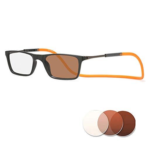 Hangende magnetische leesbril, meekleurende donkergrijze zonnebril, 100% UV-bescherming Verminder vermoeidheid tijdens het hardlopen