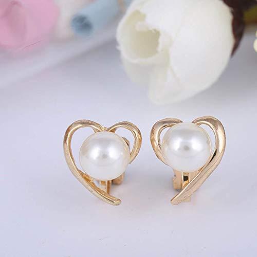 Nuovo Coreano Moda Sweet Pearl Clip Orecchini Lovely Heart A Forma di Cuore Vuoto Esagerato No Orecchini Trafitto per Le Donne