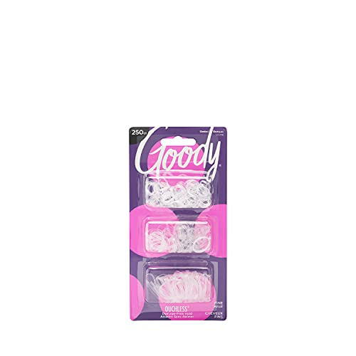 Goody Ouchless Womens Polyband Elastic Hair Tie - 250 Count, Clear - Fine Hair - Hair Accessories to Style With Ease and Keep Your Hair Secured - Perfect for Fun and Unique Hairstyles - Pain-Free